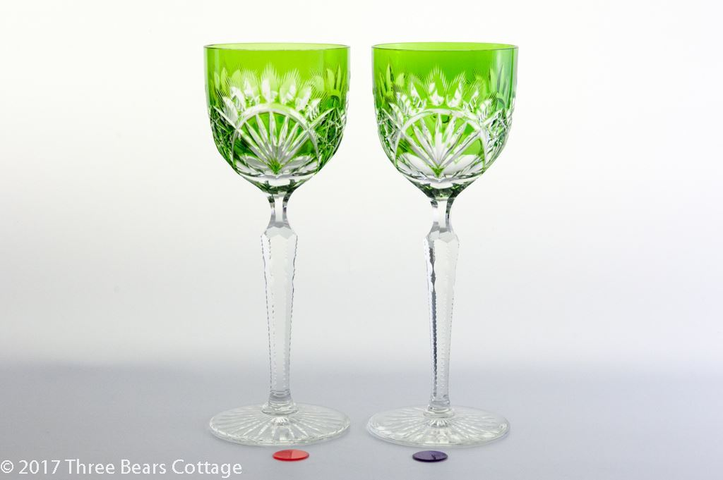 Val St Lambert Green Cut to Clear Crystal Wine Glasses