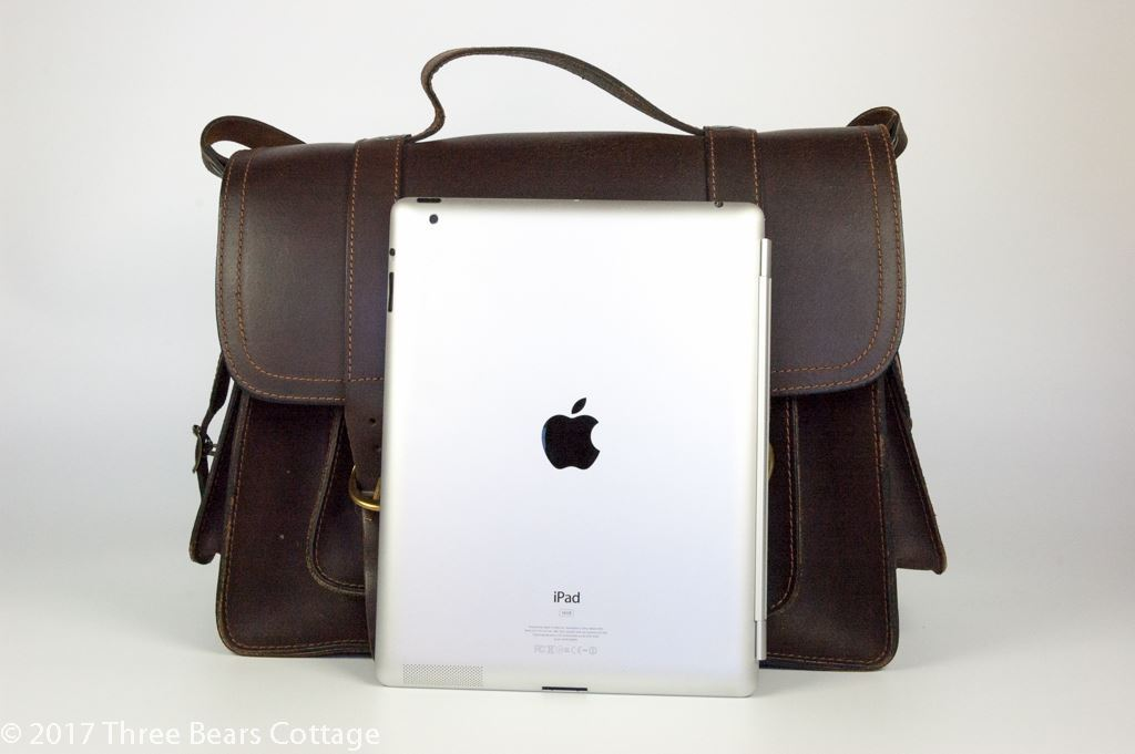 Dark Brown Leather Satchel with Side Pockets