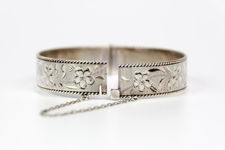 Slender Sterling Silver Bangle with Floral Engraving and Rope Edging
