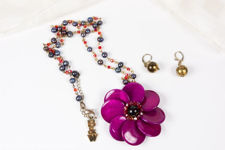 Butler & Wilson Magenta Flower Pendant Necklace and Earrings
