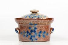 Blue On Brown Salt Glazed Pot