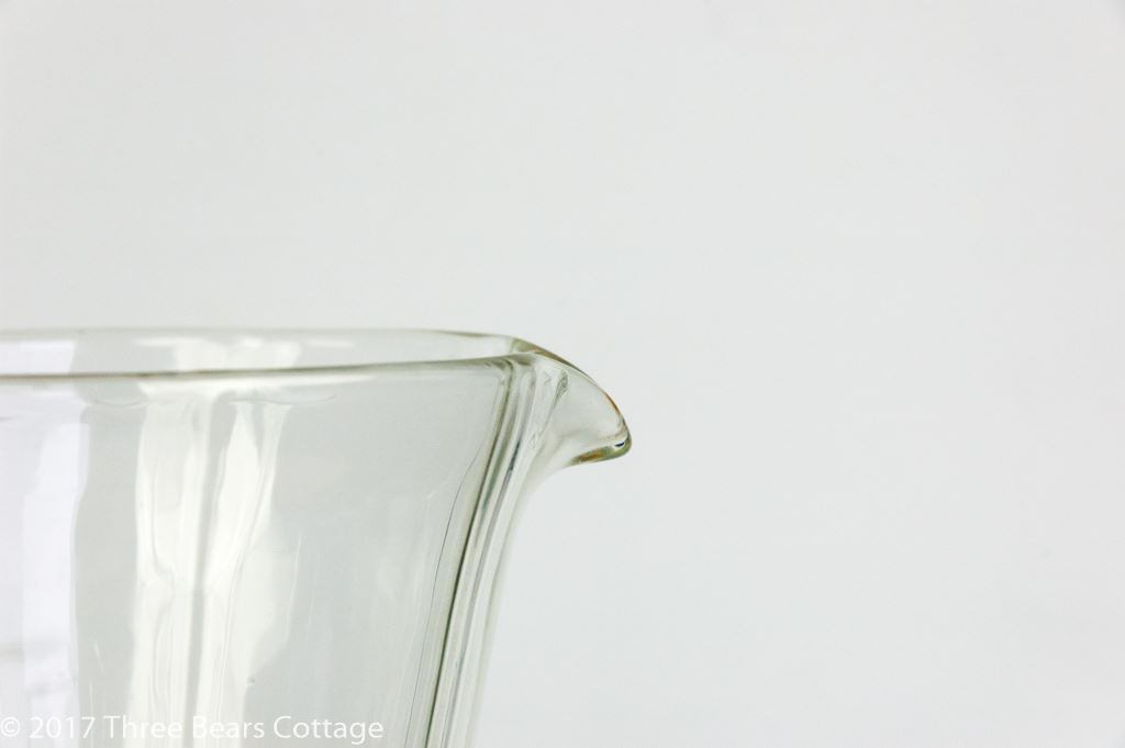 Glass Jug with Amber Handle and Foot