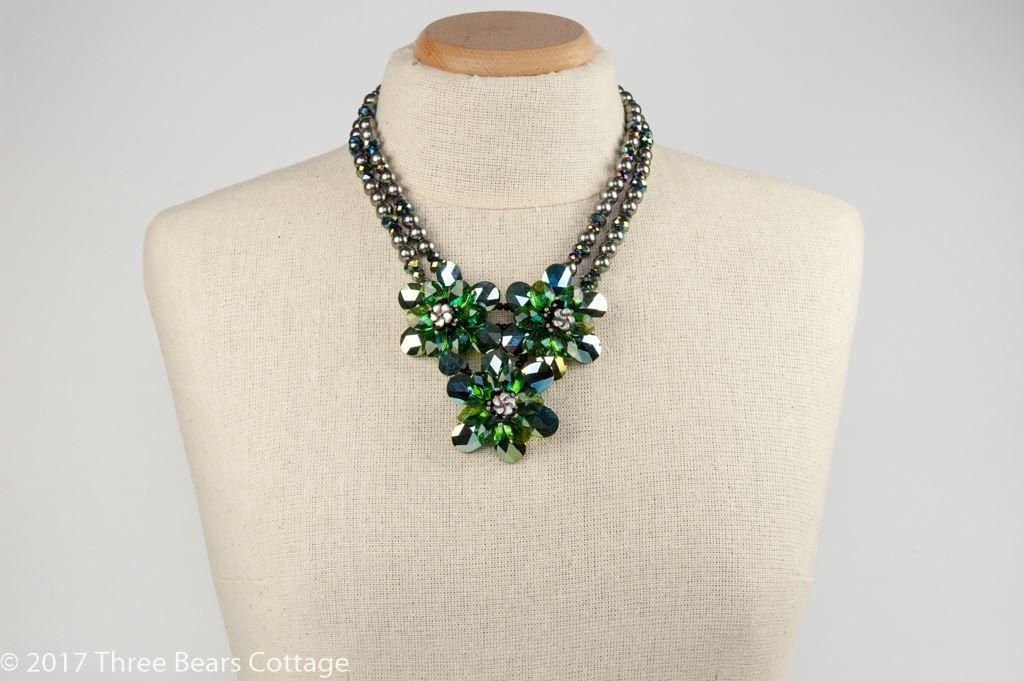 Butler & Wilson Iridescent Green Flower Necklace
