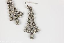 Clear Rhinestone Christmas Tree Earrings