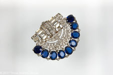 Trifari KTF Art Deco Brooch with Clear and Blue Stones