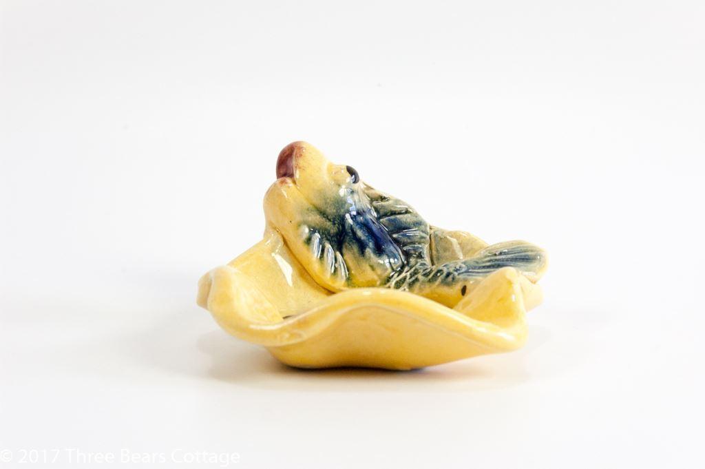 Handmade Yellow Ricard Ashtray With A Blue Fish