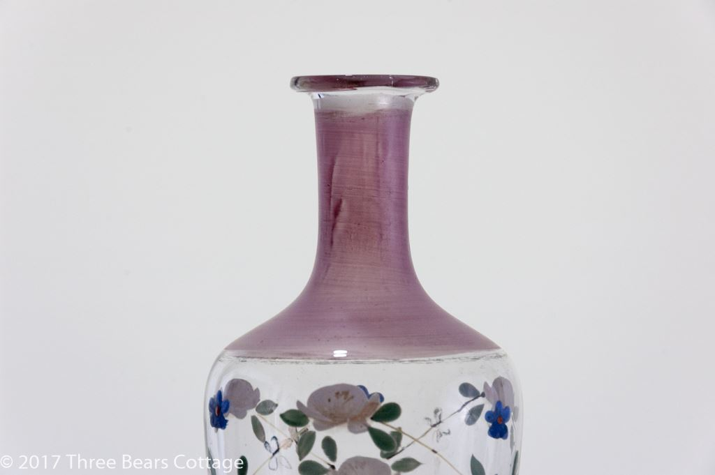 Victorian Pink Hand-Painted Glass Vase