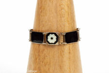 David Andersen Vermeil Sterling Silver Bracelet Of Black Panels and White Flowers