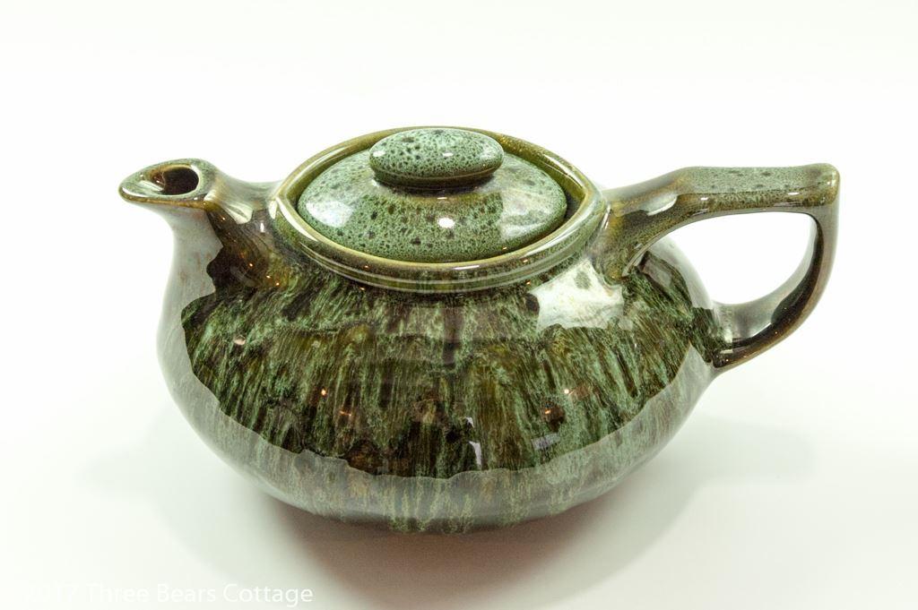 Fosters Pottery Green Honeycomb Drip Glaze Teapot