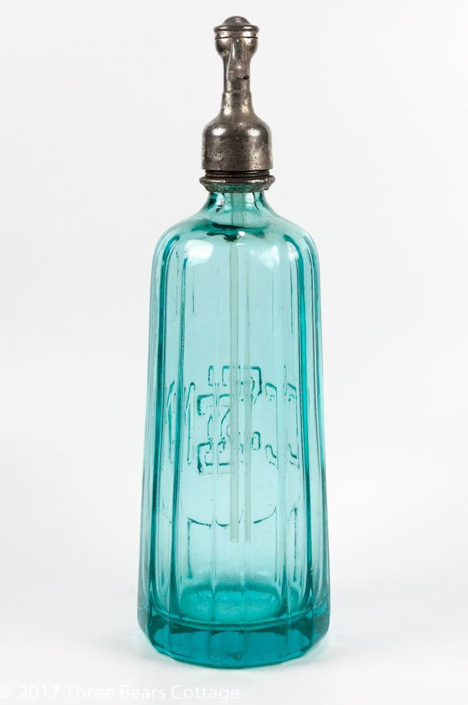 CGSM French Blue Glass Soda Siphon