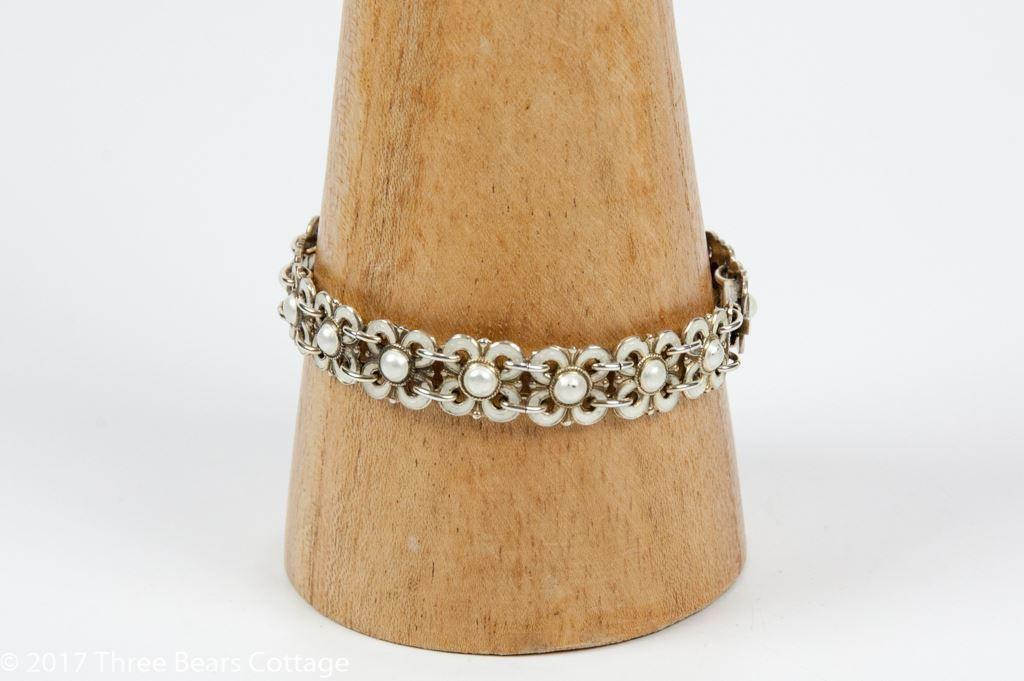 Willy Winnaess for David Andersen Silver and Enamel Floral Bracelet