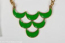Monet Green Enamel Bib Necklace