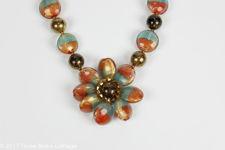 Butler & Wilson Multi Coloured Pebble Bead Flower Necklace