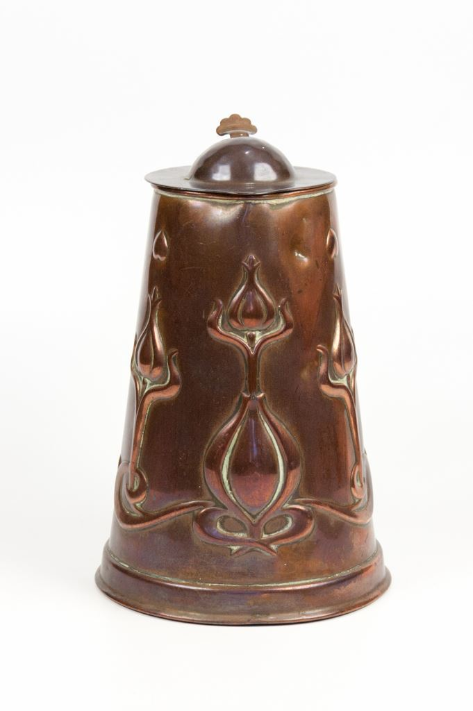 Joseph Sankey & Sons Art Nouveau Copper Lidded Pot