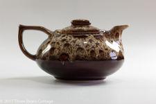 Fosters Pottery Brown Honeycomb Drip Glaze Teapot
