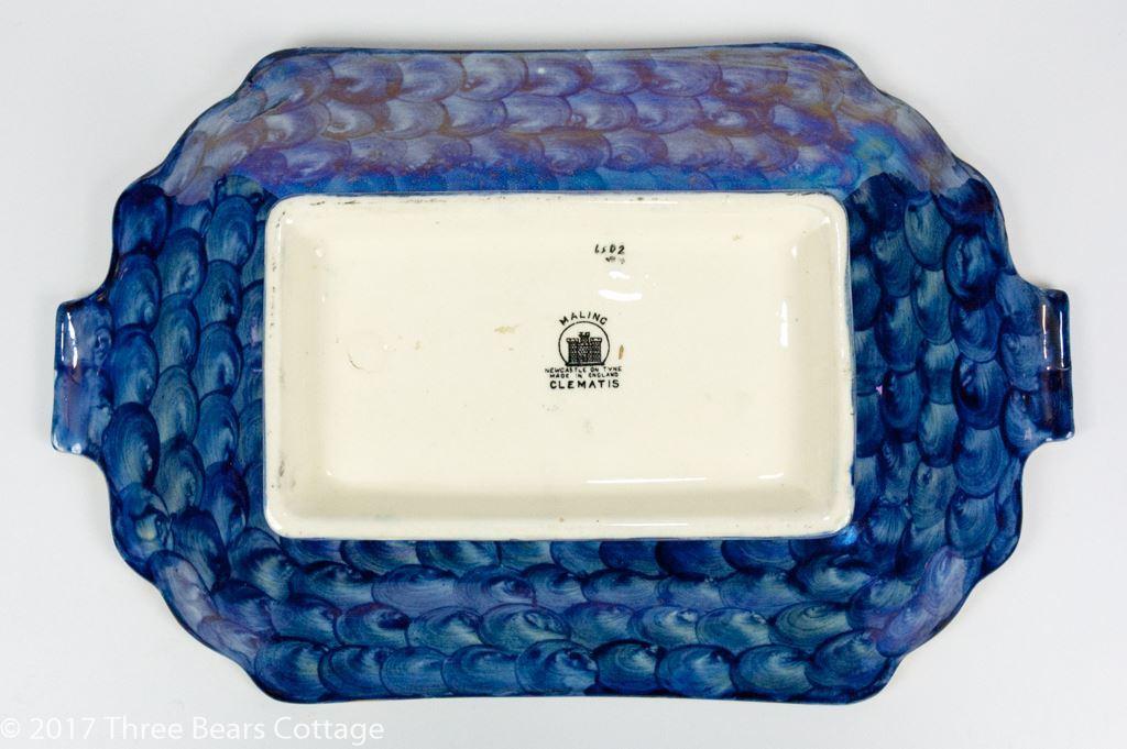 """Maling """"Clematis"""" Blue Lustreware Dish"""