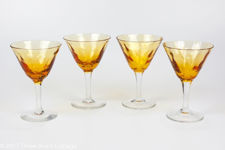 Handblown Small Amber Crystal Liqueur or Cocktail Glasses