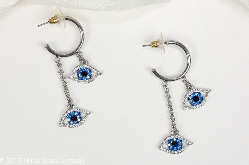 Butler & Wilson Blue Crystal Eye Earrings