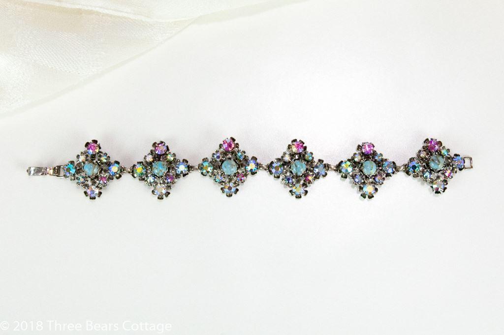 Turquoise and Aurora Borealis Crystal Bracelet