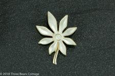 Aksel Holmsen Vermeil Sterling Silver White Enameled Flower Brooch