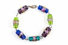 Murano Glass Multi-Coloured Lampwork Bracelet