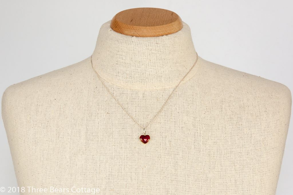 Willy Winnaess for David Andersen Sterling Silver and Red Enamel Heart Pendant