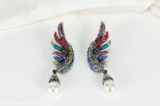 Butler & Wilson Multi Coloured Crystal Wing with Pearl Drop Earrings
