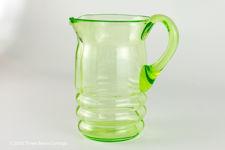 Small Green Vaseline Glass Jug