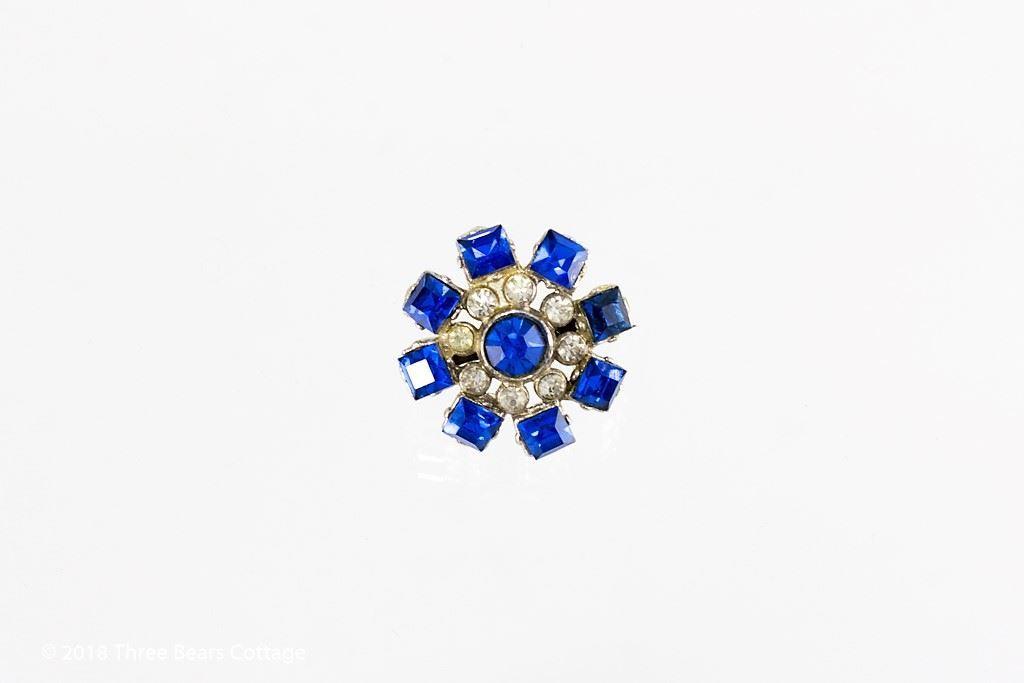 Coro Blue Rhinestone Flower Brooch