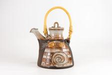 Handmade Studio Pottery Striped Cat Teapot