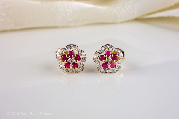 Ruby and Diamond Floral Stud Earrings