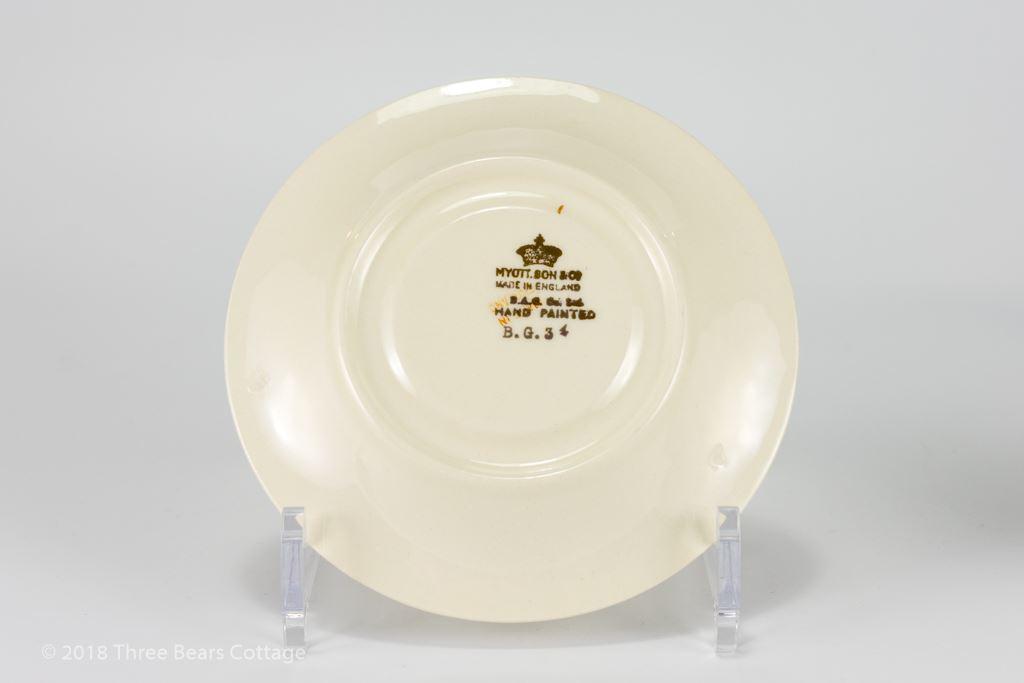 Myott Art Deco Hand Painted Teacup, Saucer & Plate Trio
