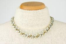 Coro Jewelcraft White Silver and Gold Coloured Rhinestone Choker Necklace