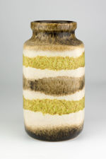 Scheurich Green & Brown Striped Lava Vase