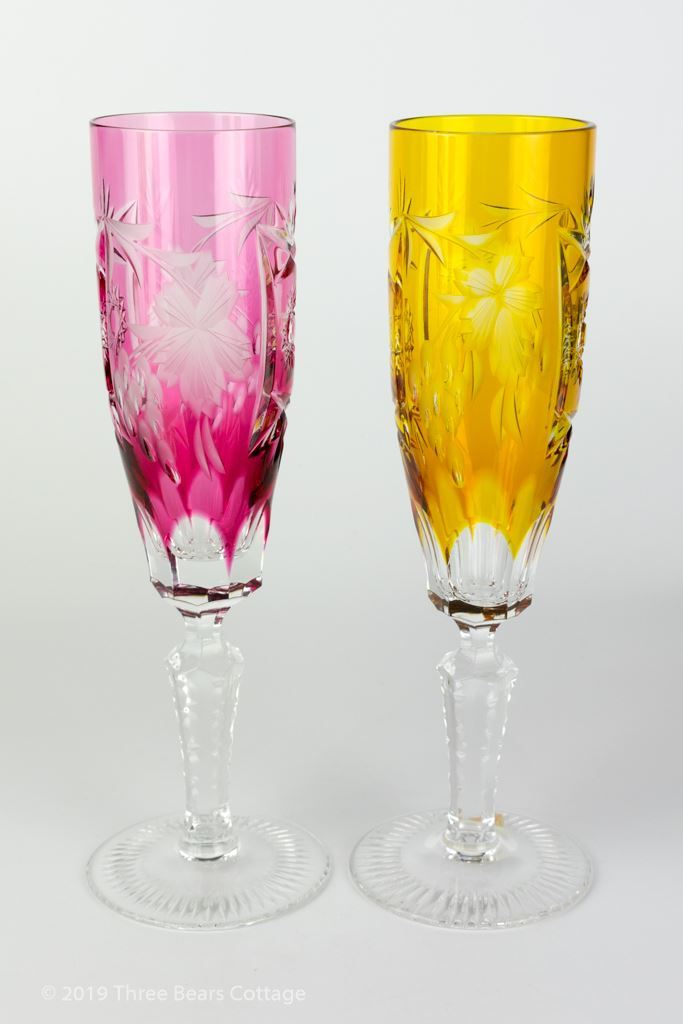 Nachtmann Traube Coloured Lead Crystal Champagne Flutes