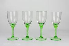 Handblown Green Twisted Stem Liqueur Glasses