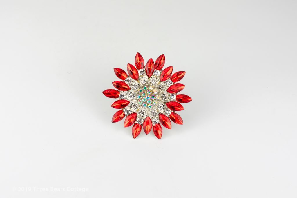 Fire & Ice Red & Clear Crystal Star Brooch