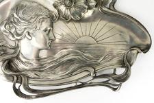 WMF AK & CIE Art Nouveau Polished Pewter Visiting Card Tray