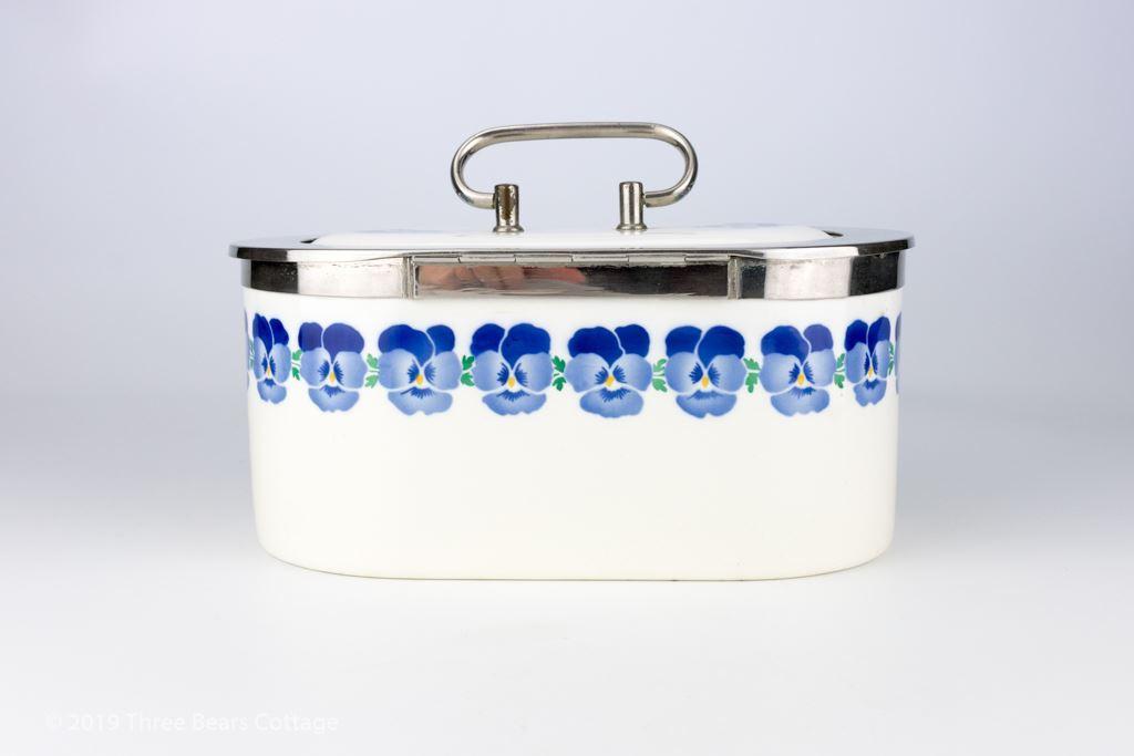 WMF Wächtersbach Art Deco Blue Pansies Biscuit Box