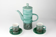 Cinque Ports Green and Brown Coffee Pot with Cups and Saucers