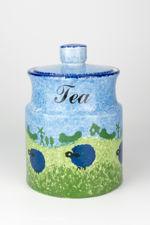 Price & Kensington Blue Sheep Design Tea Storage Jar With Lid
