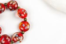 Red Murano Glass Millefiori Beaded Bracelet