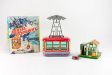 """TN Nomura Japanese Tinplate """"Aerial Ropeway """" Toy Cable Car"""