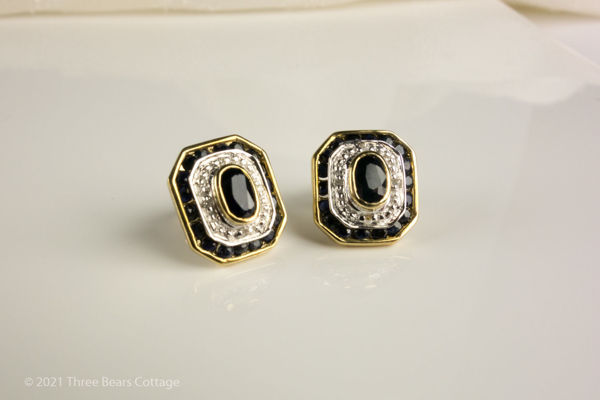 Main picture of rectangular sapphire and diamond stud earrings