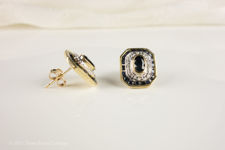 Side view  of rectangular sapphire and diamond stud earrings