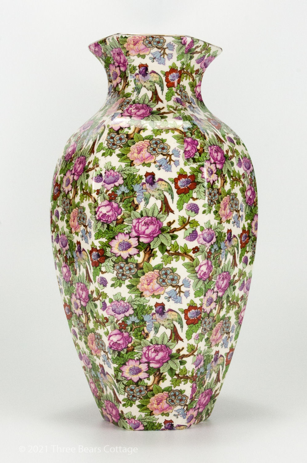 Side view 2 of large Crown Ducal chintz vase