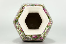 Top view of mouth of large Crown Ducal chintz vase