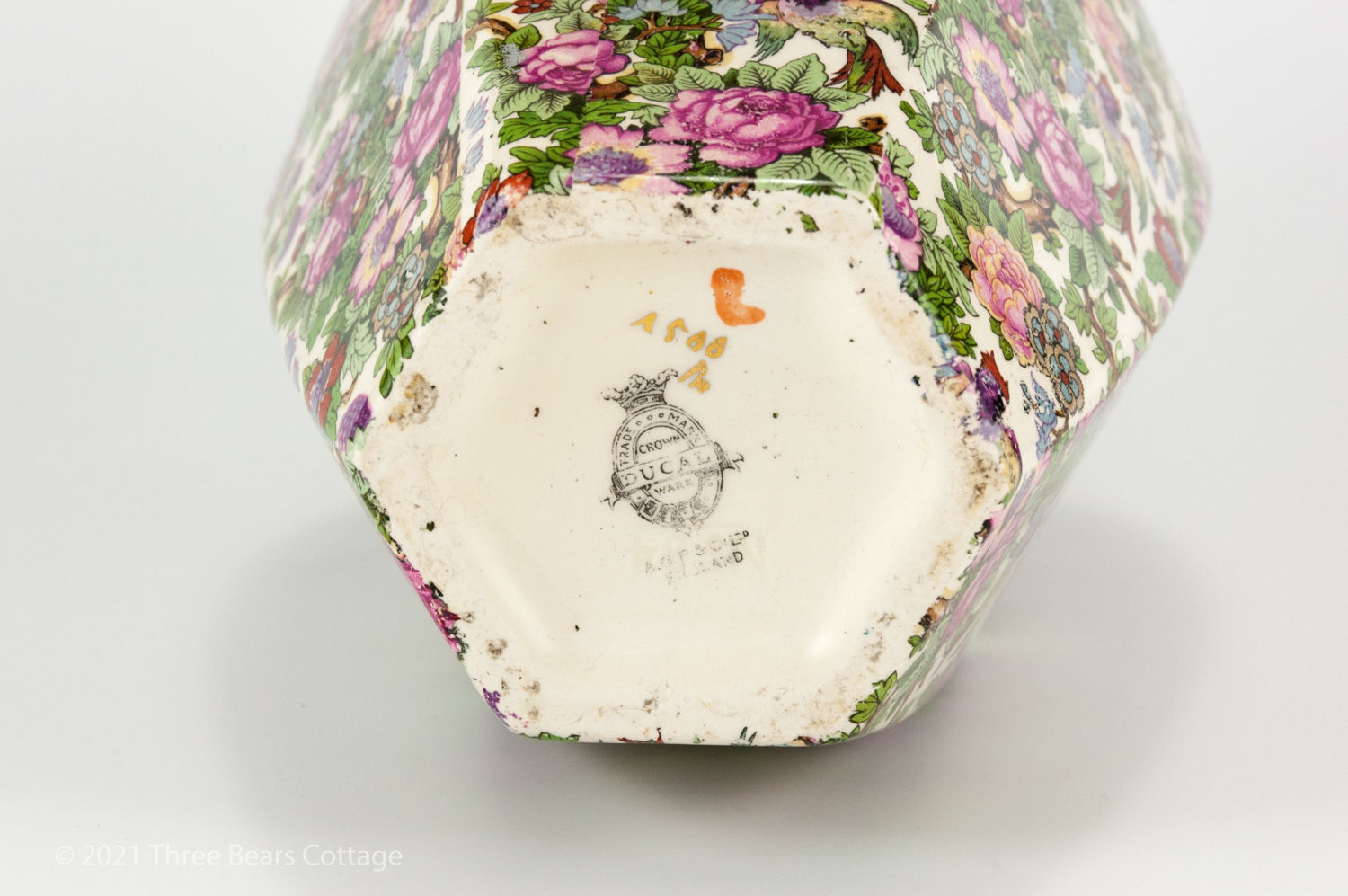 Crown Ducal maker's mark from large chintz vase