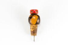 Side view 1 of entire Tagua Nut bird bottle stopper & cork